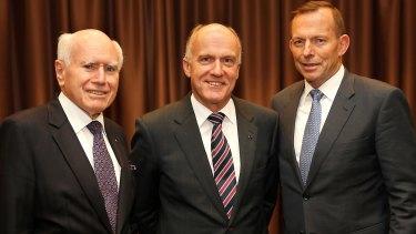 John Howard, Eric Abetz and Tony Abbott in 2015.