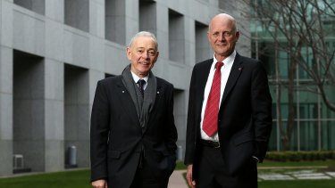 Former Family First senator Bob Day and with Liberal Democrats senator David Leyonhjelm at Parliament House in Canberra.