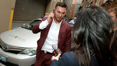 Salim Mehajer leaving the police station on Sunday afternoon.