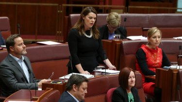 "Greens Senator Sarah Hanson-Young has questioned the ""community values"" of Bendigo Bank over its operations on Nauru."