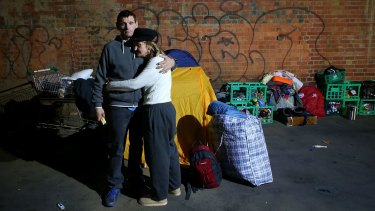 Homeless couple Dave and Kellie have been evicted from their makeshift camp at Enterprize Park.