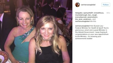 Sussan Ley with Queensland businesswoman Sarina Russo at a party in 2015.