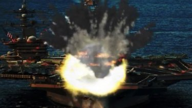 This doctored photo released by North Korea's propaganda website shows a North Korean missile hitting the US nuclear-powered aircraft carrier USS Carl Vinson.