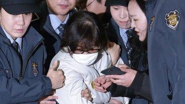 Choi Soon-sil, centre, the jailed confidante of disgraced South Korean President Park Geun-hye, in 2016.