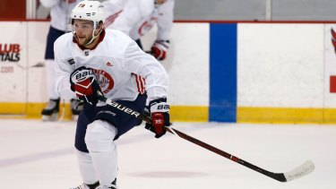 Dream debut: Nathan Walker scored the final goal in the Washington Capitals' 6-1 win against the Montreal Canadiens.