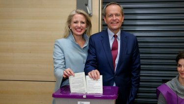 Opposition Leader Bill Shorten together with wife Chloe cast their votes at the Moonee Ponds West Primary School in Moonee Ponds.