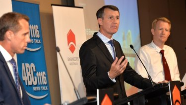 On repeat: Candidates Rod Harding (left), encumbent Lord Mayor Graham Quirk and Ben Pennings.