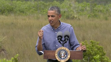 """Obama said rising sea levels are putting the """"economic engine for the South Florida tourism industry"""" at risk."""