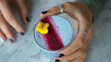 Something different: Matcha Mylkbar's blue latte combines algae with ginger, lemon and coconut milk.