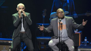 The Age Hall of Fame inductee Archie Roach performing with Paul Kelly at The Age Music Awards at the Palais Theatre in St Kilda.