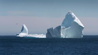 A large iceberg is visible from the shore in Ferryland, an hour south of St John's, Newfoundland.