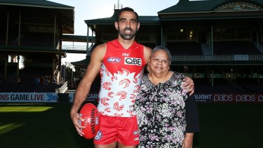 Adam Goodes with his mum Lisa Sansbury.