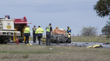 Fatality on the Western freeway near Ballan where it appears a car has crossed the highway and been hit head on.
