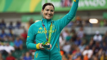Nearing the end of a magical career?: Anna Meares celebrates on the podium at the medal ceremony for the women's keirin.