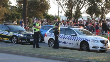 Police were on site as the revellers got increasingly rowdy.