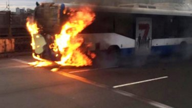 The bus that caught fire on the Harbour Bridge in September last year.