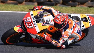 Fully committed: Marc Marquez corners his Honda during the Australian MotoGP at Phillip Island.