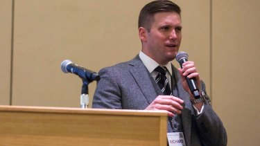 Richard Spencer, a leader of the far right, addresses a conference in Washington on Saturday.