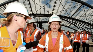 Premier Gladys Berejiklian inspects construction of a new railway station at Cudgegong Road in Sydney's north west.