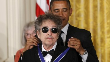 Not the first honour: Bob Dylan was presented with a Medal of Freedom by President Barack Obama in 2012.