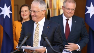 Prime Minister Malcolm Turnbull with Treasurer Scott Morrison and Kelly O'Dwyer, Minister for Small Business and Assistant Treasurer.