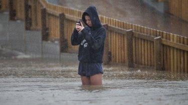Heathcote River floods in Heathcote, New Zealand, after heavy rains across the South Island.