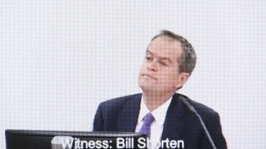 Opposition Leader Bill Shorten answers questions at the royal commission.