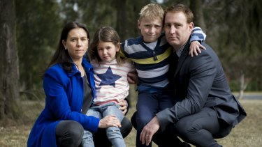 Nicole and Mark Nicholson with their children Zara, 5, and Lincoln, 8.