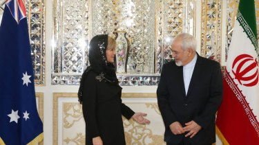 Foreign Minister Julie Bishop meets with Iran's Foreign Minister Dr Mohammad Javad Zarif in Tehran in 2015.