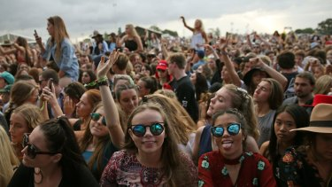 Festival-goers in the crowd at Groovin' the Moo.