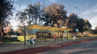 An artist's conception of a new B-Line route bus stop at Mona Vale.