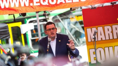 Premier Daniel Andrews addresses the crowd at the Equal Love Rally.