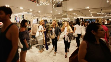 The opening of H&M's Pitt Street Mall store in Sydney on Halloween in November 2015 attracted large crowds.