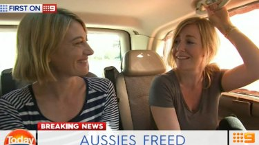 60 Minutes journalist Tara Murphy and Brisbane mum Sally Faulkner after being released from jail.