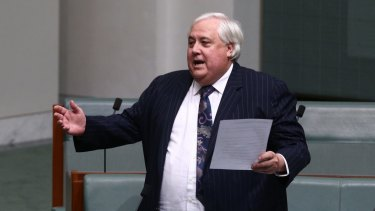 Bizarre question: Clive Palmer chuckled along with himself as he asked.