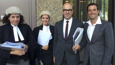 Nicholas Polias, far right, with his legal team, including Sue Chrysanthou, far left, and Bridgette Regener.