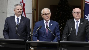 PM Malcolm Turnbull addressing the media during a joint press conference with Finance Minister Mathias Cormann and Attorney-General George Brandis in December last year.