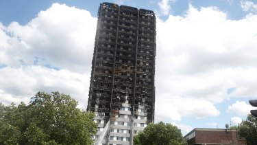The charred facade of the Grenfell Tower in London.