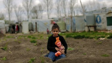 A Syrian girl at the refugee camp in al-Marj.
