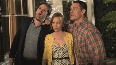 Ike Barinholtz, Leslie Mann and John Cena in Blockers.