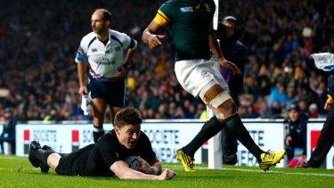 All Black's Beauden Barrett scores the second New Zealand try.