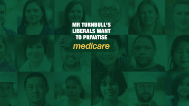A screenshot of a Labor website claiming the Liberal Party wants to privatise Medicare.