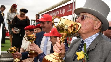 Lloyd Williams enjoys his latest Melbourne Cup win with Almandin.