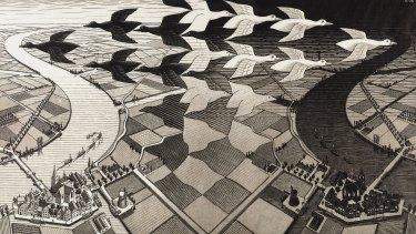 <i>Day and night</I>, 1938,  woodcut.