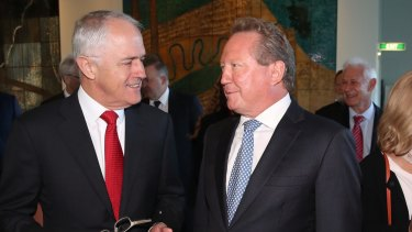 Malcolm Turnbull with philanthropist Andrew Forrest in Canberra.