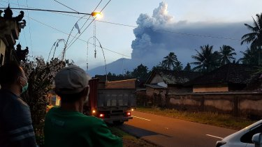 Locals in Nongan village woke up to clouds over Mt Agung.
