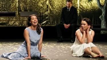 Catherine Davies (left) and Jessica Tovey in Bell Shakespeare's The Merchant of Venice.