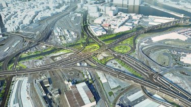 A spaghetti junction to be built in West Melbourne as part of the West Gate Tunnel project.