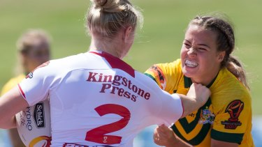 On report: Isabelle Kelly of Australia makes a tackle in the first half.