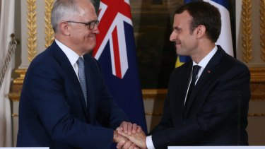 Malcolm Turnbull with French President Emmanuel Macron at the Elysee Palace in Paris on Saturday.